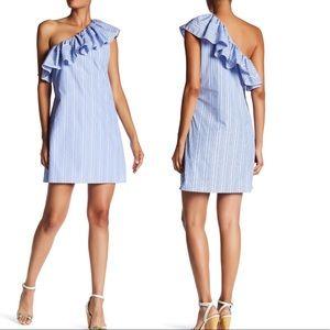 Parker Striped One Shoulder Flutter Sleeve Dress